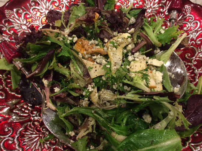 Spring Greens Salad with Pears, Walnuts, and Gorgonzola.