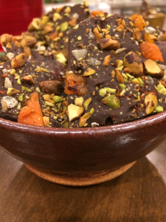 Dark Chocolate Fruit & Nut Bark with Saffron