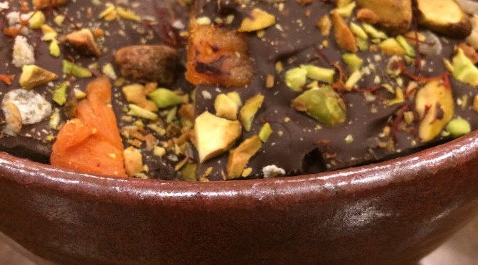 Dark Chocolate Fruit & Nut Bark with Apricots and Candied Ginger