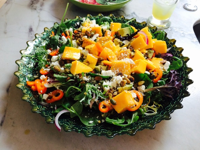 Tossed Green Salad with Mango, Peppers & Onions with Honey Vinaigrette