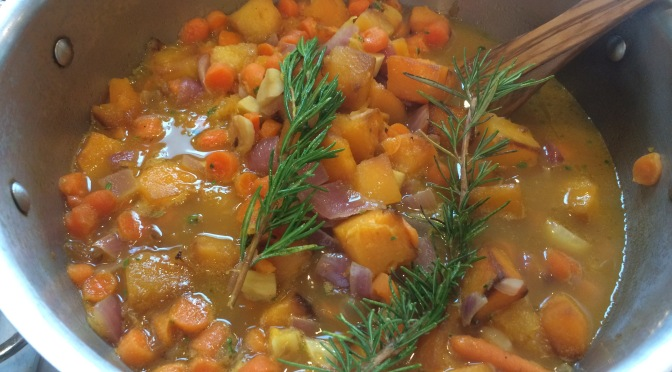 Carrots and Butternut Squash Soup with Rosemary