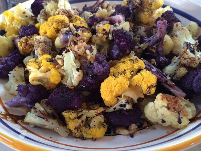 Tri-Colored Roasted Cauliflower with Balsamic Glaze