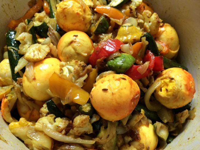 Roasted Veggies with Hard-boiled Eggs and Spices