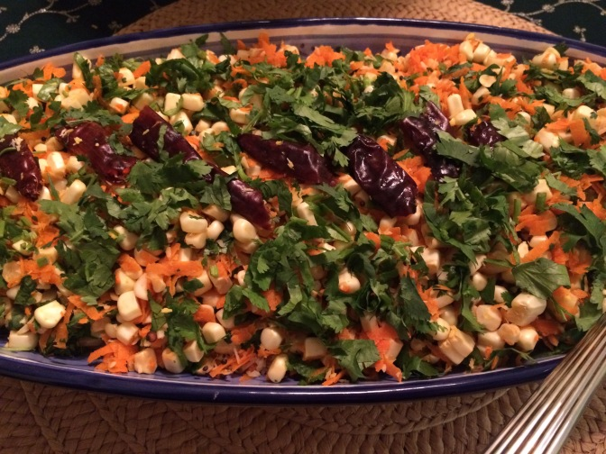 Fresh Corn and Carrot Salad with Toasted Red Chili Oil