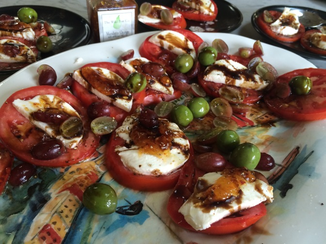 Caprese Salad with Savory Jam, Olives and Grapes