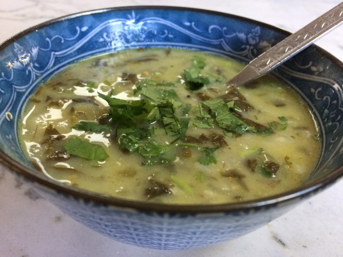 Spinach and Ridge Gourd Soup