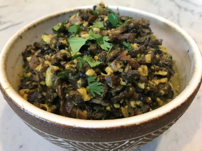 Mushroom Curry with Shredded Paneer Cheese