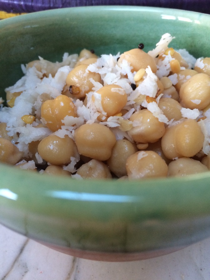 Sundal. Savory Chickpeas and Coconut Snack