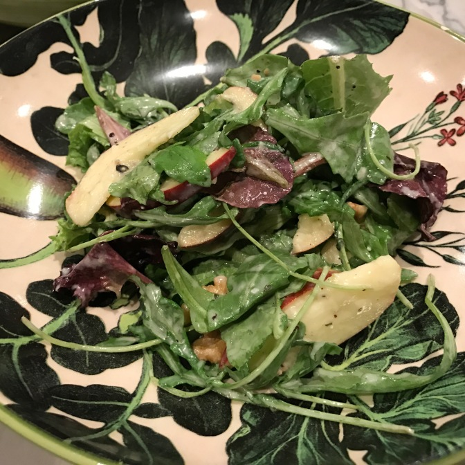 Apples, Mixed Greens & Arugula Salad with Bleu Cheese Dressing