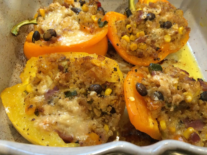 Stuffed Peppers with Mexican Spiced Veggies & Black Beans