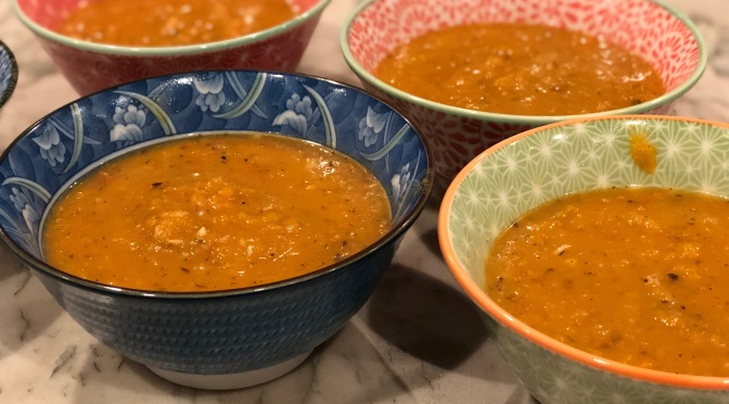 Roasted Butternut Squash & Red Onion Soup