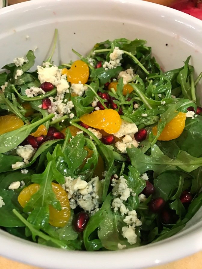 Pomegranate, Orange and Arugula Salad with Bleu Cheese & White Balsamic Dressing
