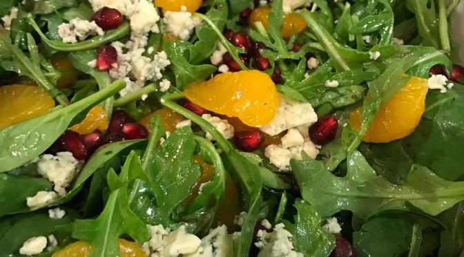 Pomegranate, Orange and Arugula Salad with Bleu Cheese & White Balsamic Dressing