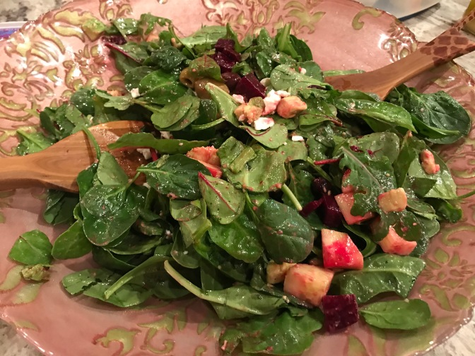 Beets & Olives Salad with Feta, Super Greens & Lemon Herb Dressing