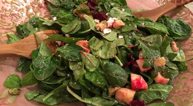 Beets & Olives Salad with Feta, Super Greens &Lemon Herb Dressing