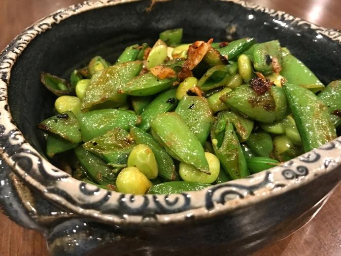 Braised Warm Sugar Snap Peas & Edamame Salad