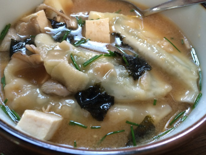 Miso Soup with Oyster Mushrooms & Wontons