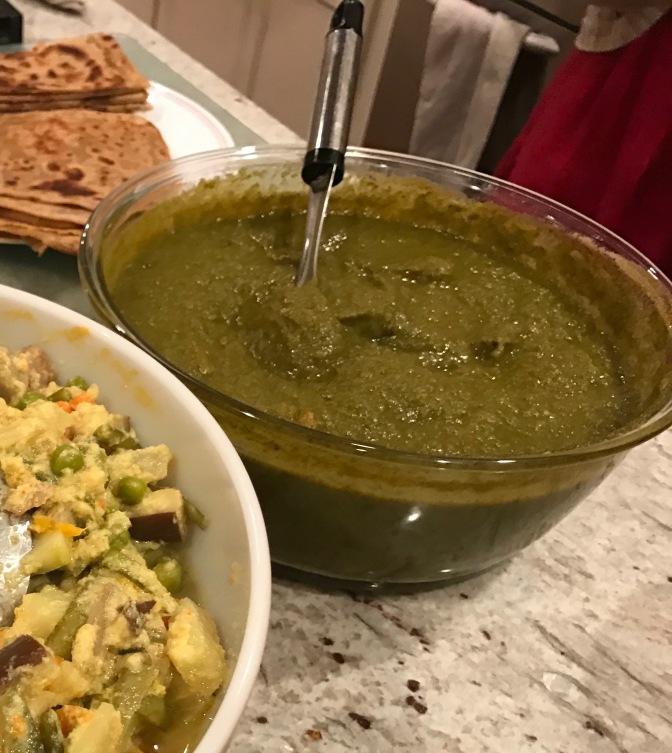 Saag Sabjee.  Greens Curry