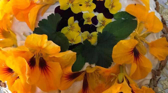 Hummingbird Cake with Pecans, Pansies, Nasturtiums Blooms & Scented Geraniums