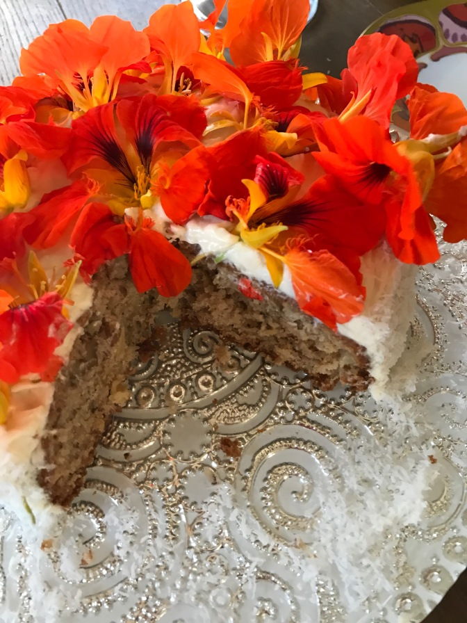 Hummingbird Cake with Nasturtium Blossoms