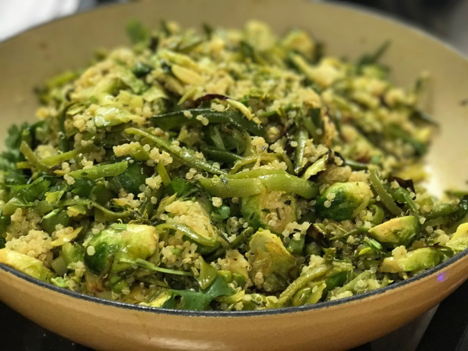 Herbed Quinoa with Brussels Sprouts & Sugar Snap Peas