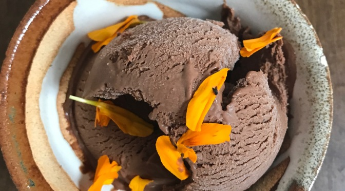 Dark Chocolate Brandy Cardamom Ice Cream