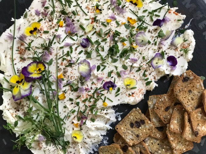 Cream Cheese Edible Art with Herbs & Edible Flowers