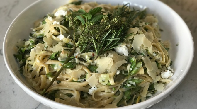 Spring Herbs & Goat Cheese Fettuccini with Braised Sugar Snap Peas & Leeks