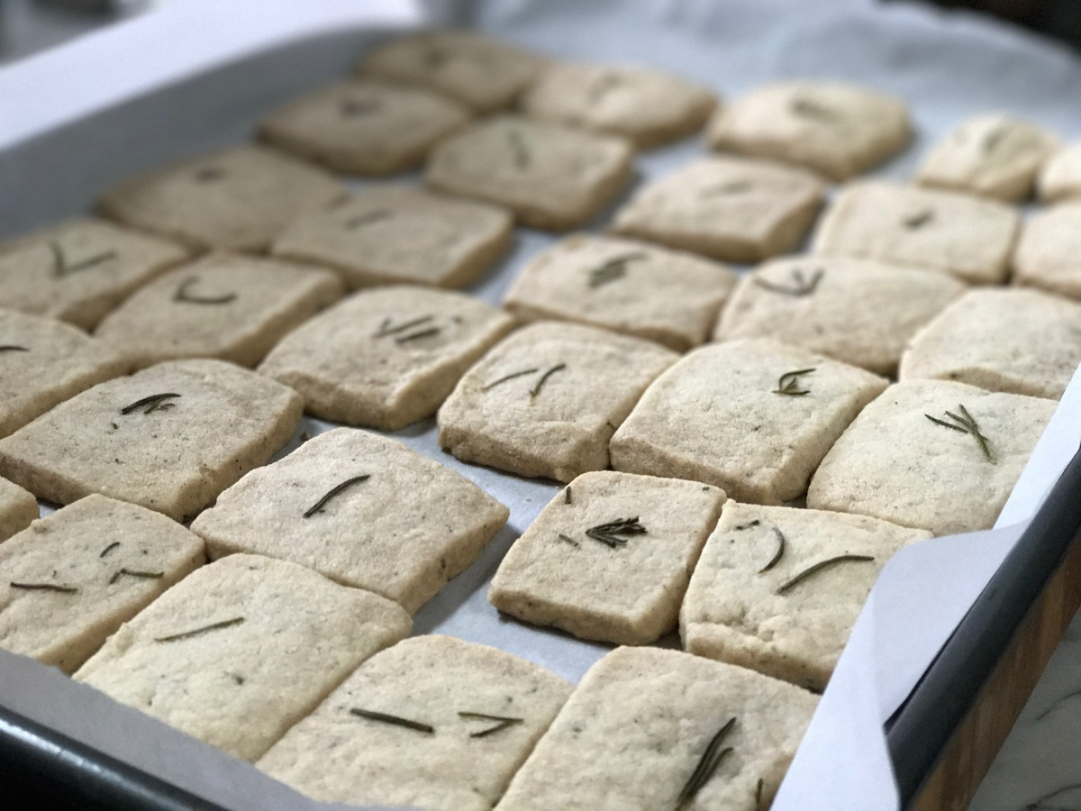 Cardamom Rosemary Shortbread Cookies with Coconut Oil