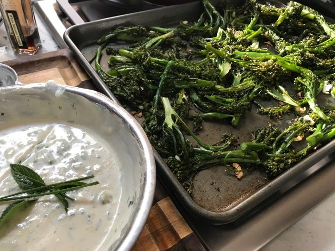 Broccolini Salad with Mint and Chive Greek Yogurt Dressing