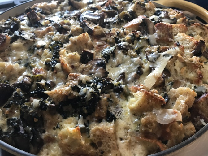Savory Bread Pudding with Wild Mushrooms, Leeks & Kale