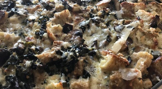 Savory Bread Pudding with Wild Mushrooms, Leeks & Kale
