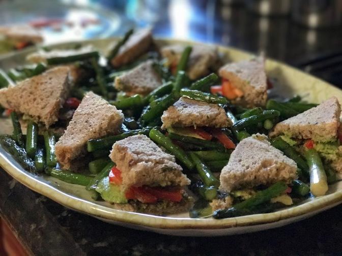 Pesto Tea Sandwiches with Crisp Sautéed Asparagus