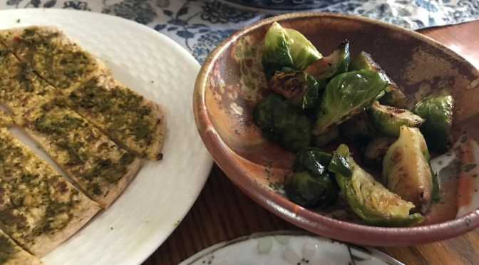 Mint Chutney on Pita Bread with Roasted Brussels Sprouts
