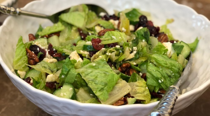 Crisp Lettuce Salad with Candied Pecans and Feta Cheese