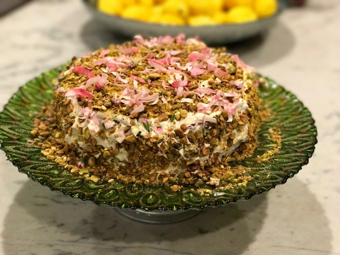 Pistachio Cake with Rose Petal Confetti