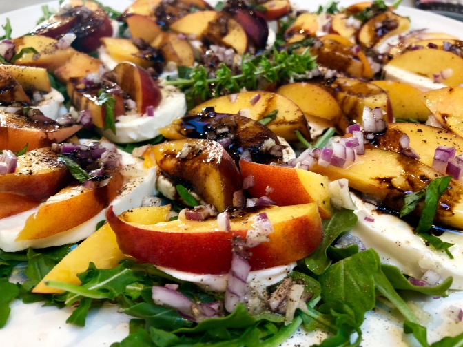 Peach and Arugula Caprese Salad