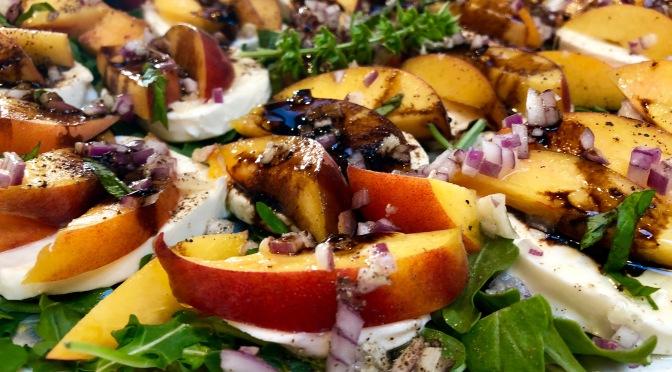 Peach and Arugula Caprese Salad