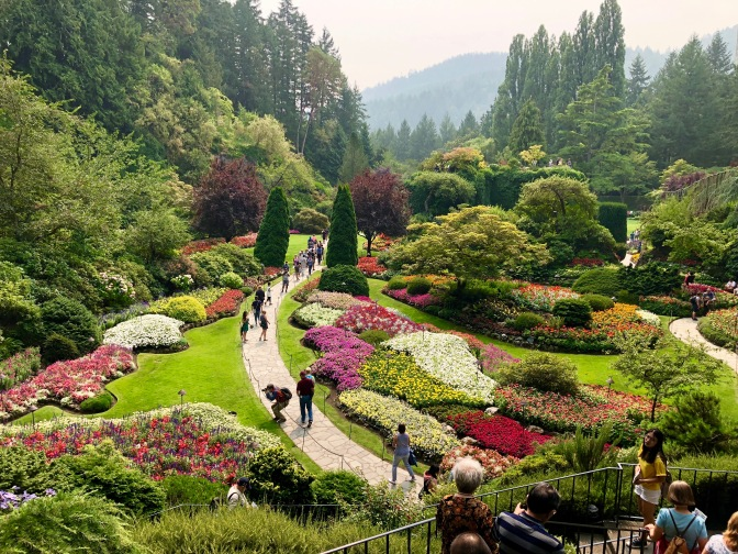 In Flower Heaven at Butchart Gardens. Victoria, Canada