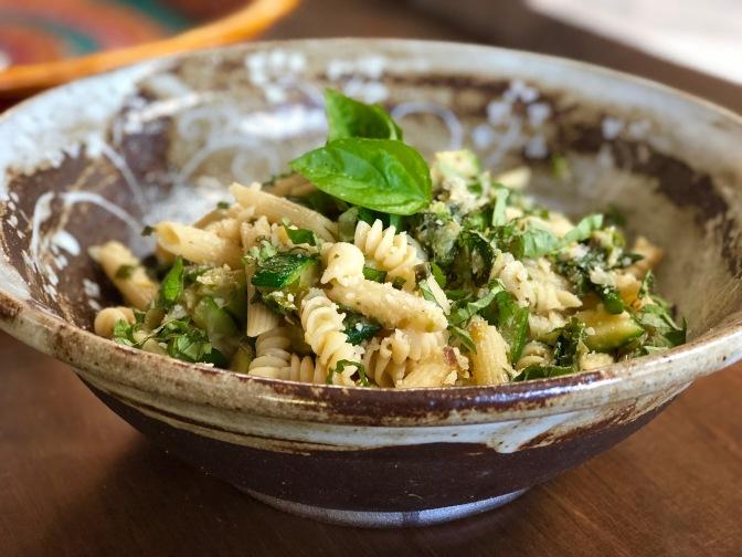 Rigatoni with Asparagus Leeks Zucchini and Kale