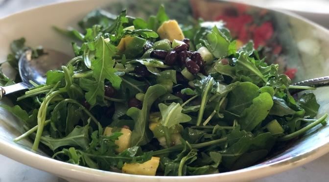 Black Bean Salad with Yellow Squash, Celery & Arugula