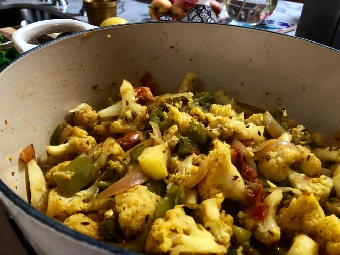 Cauliflower Curry with Peas, Potatoes & Peppers