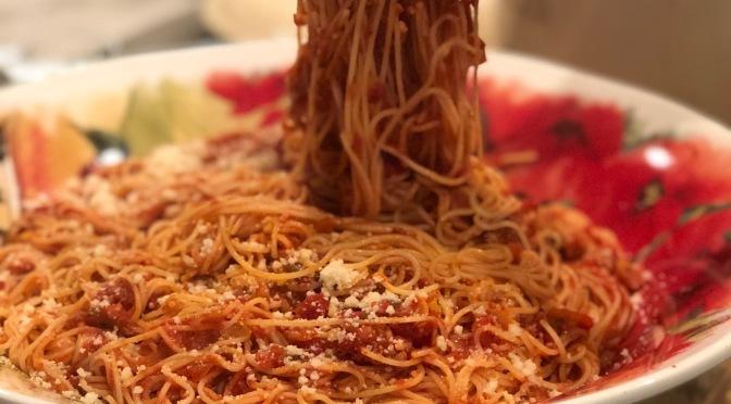Spaghetti with Jazzed-Up Store-bought Marinara Sauce