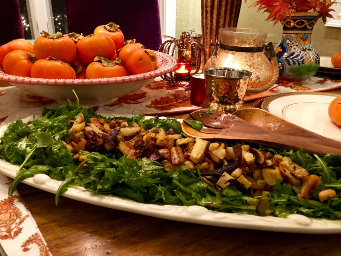 Roasted Root Vegetables on Bed of Greens