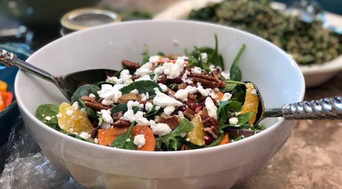 Spinach and Arugula Salad with Persimmons, Orange & Pomegranate