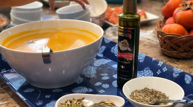 Creamy Butternut Squash Soup with Herbs de Provence & Truffle Oil