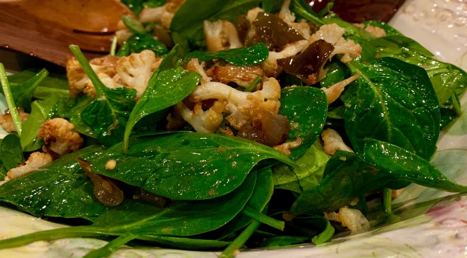 Spinach Salad with Roasted Cauliflower and Bell Peppers