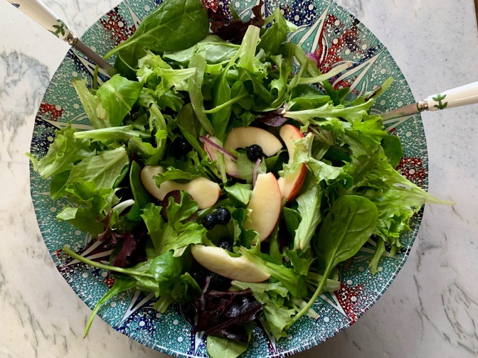 Apples and Blueberries Lemony Greens Salad