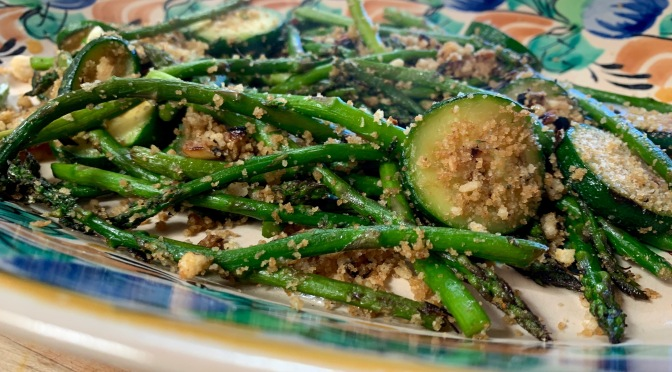 Zucchini Asparagus Stir Fry with Panko Parmesan Topping
