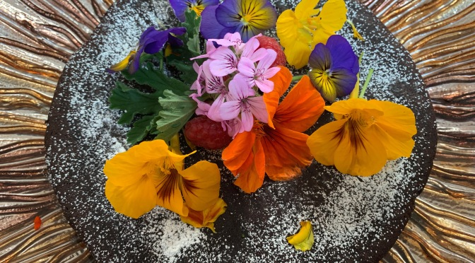 Flourless Chocolate Torte with Spring Edible Flowers